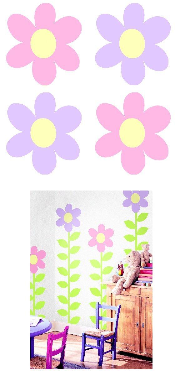 Pink Purple Flower Kidifexs Peel and Stick Sticker - Kids Wall Decor Store