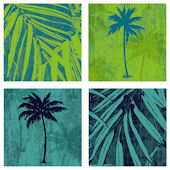 Green Blue Palms Decorifex Peel Stick Wall Sticker