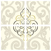Beige Black Center Damask Decorifex Wall Sticker