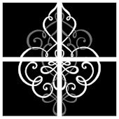Black Center Damask Decorifex Wall Sticker