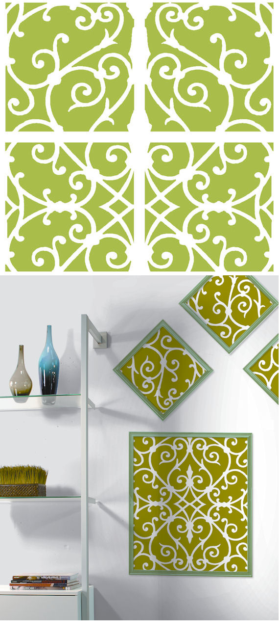 Green Damask Decorifex Wall Sticker - Wall Sticker Outlet