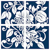Blue Full Floral Decorifex Wall Sticker
