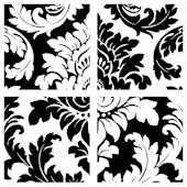 Black White Reverse Damask Decorifex Wall Sticker