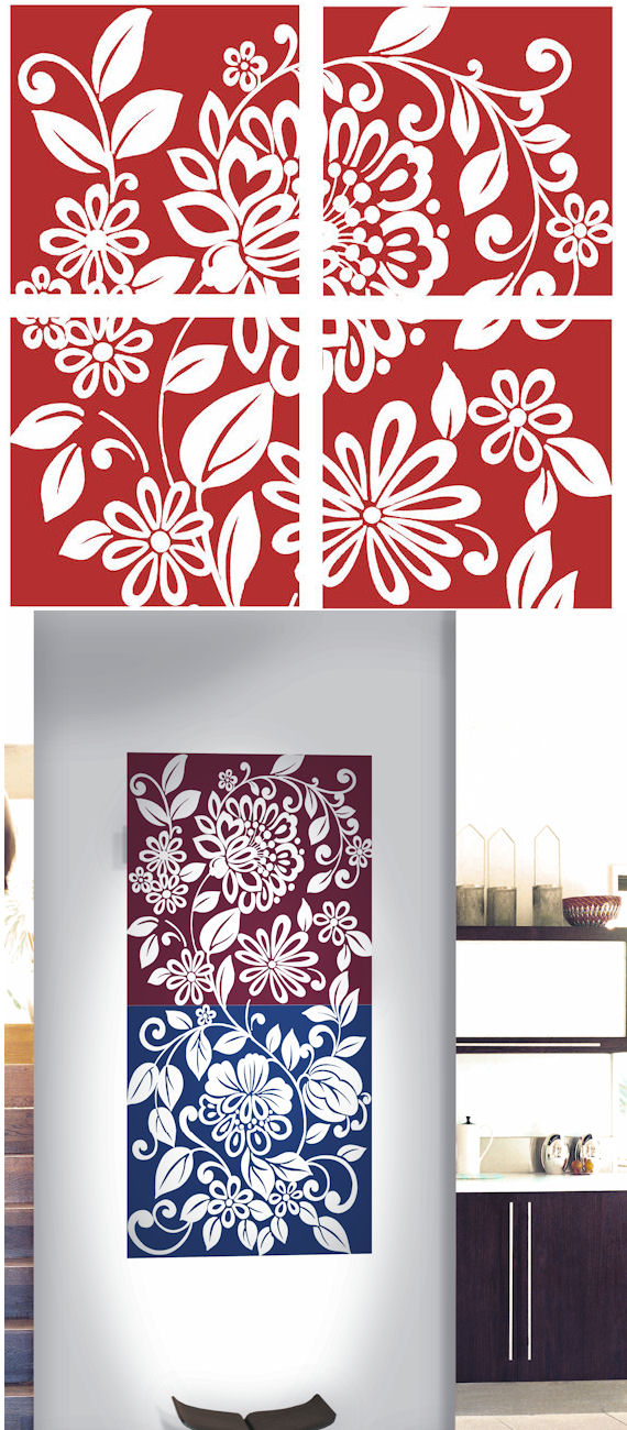 Red Full Floral Decorifex Wall Sticker - Kids Wall Decor Store