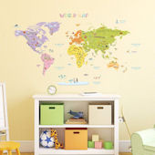 Decowall Colorful World Map Wall Decals