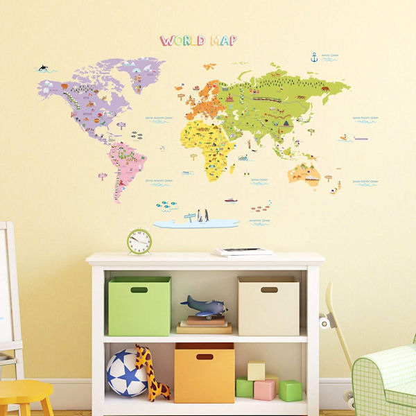 Decowall Colorful World Map Wall Decals - Wall Sticker Outlet