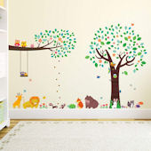 Decowall Animal Friends Tree Wall Decals