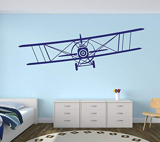 Large Biplane Wall Decal - Wall Sticker Outlet