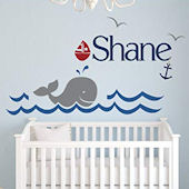 Whale Personalized Name Wall Decal
