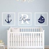 Nautical Sail Boat Personalized Wall Decal