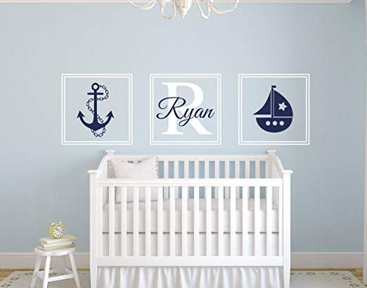 Nautical Sail Boat Personalized Wall Decal - Wall Sticker Outlet