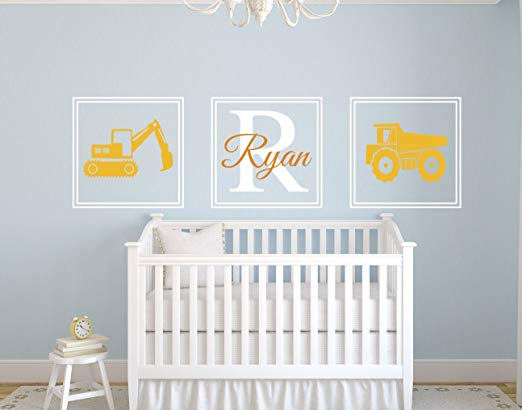 Construction Trucks Personalized Wall Decal - Wall Sticker Outlet