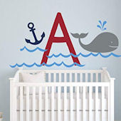 Whale and Anchor Personalized Monogram Wall Decal