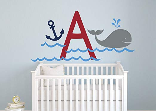Whale and Anchor Personalized Monogram Wall Decal - Wall Sticker Outlet