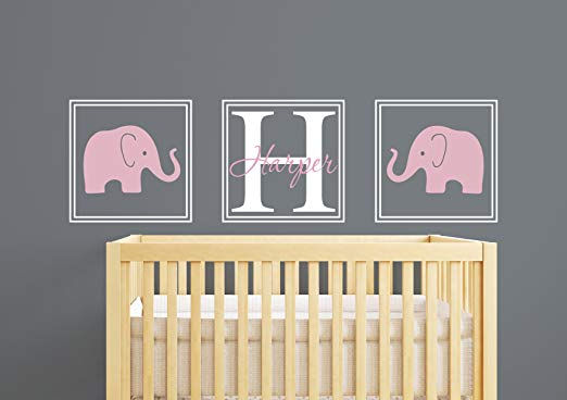 Elephant Name Personaized Wall Decal - Wall Sticker Outlet