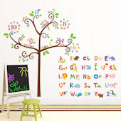 Decowall Animal Alphabet Tree Wall Decals