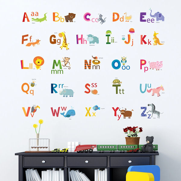Decowall Animal Alphabet Wall Decals - Wall Sticker Outlet