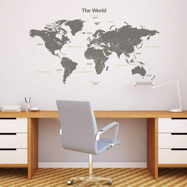 Decowall Modern Gray World Map Wall Decals - Wall Sticker Outlet