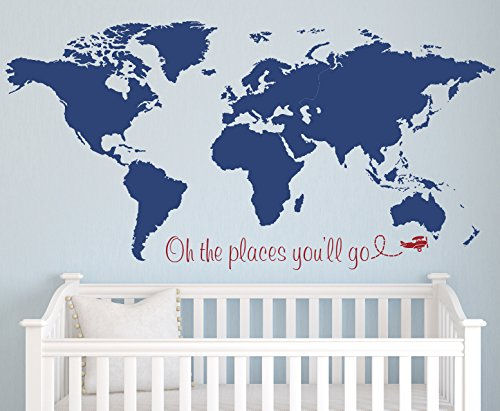 Oh The Places You'll Go Map Name Wall Decal - Wall Sticker Outlet