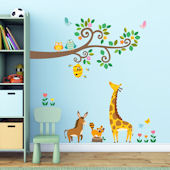 Decowall Scroll Branches and Animals Wall Decals