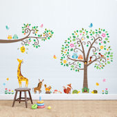 Decowall Animal Friends Scroll Tree Wall Decals