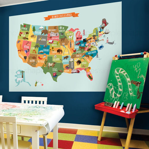 Kids USA Wall Map Wall Decal - Wall Sticker Outlet