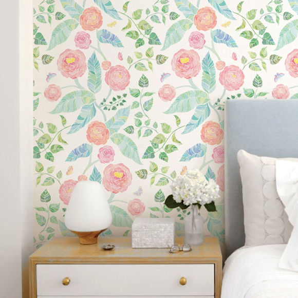 Spring Garden Flowers Peel and Stick Wallpaper - Wall Sticker Outlet