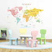 Decowall Pink World Map Wall Decals