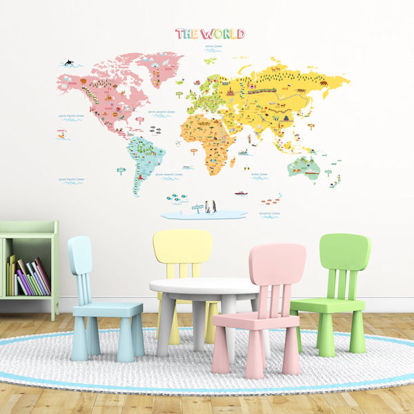 Decowall Pink World Map Wall Decals - Wall Sticker Outlet