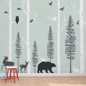 Forest Birch Trees With Animals Wall Decals
