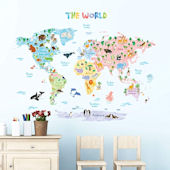 Decowall Pastel Animal World Map Wall Decals