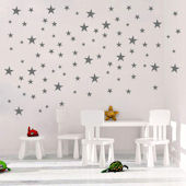 DCTOP Silver Star Peel and Stick Wall Decals