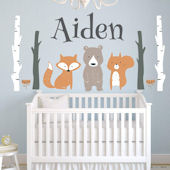 Custom Woodland Animals Personalized Wall Decal