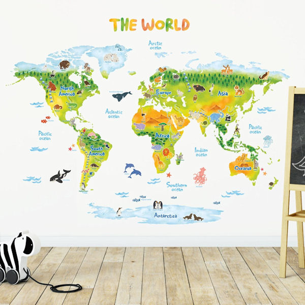 Decowall Geological World Map Wall Decals - Wall Sticker Outlet