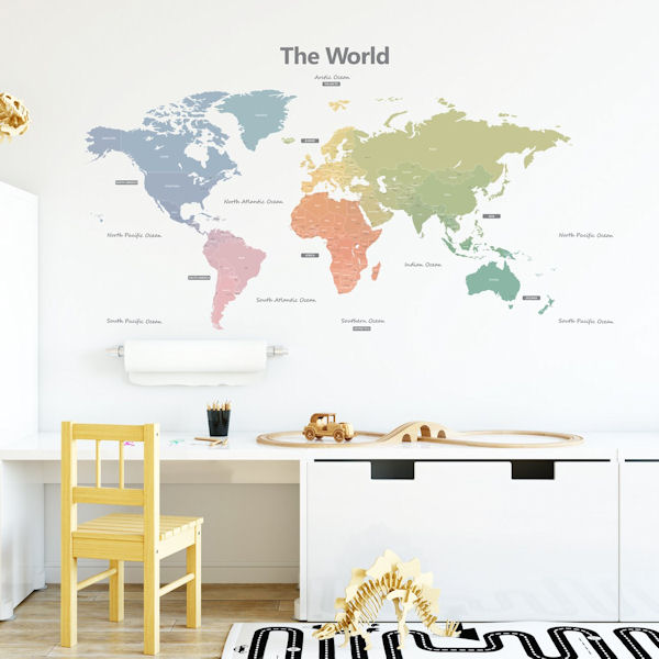 Decowall Modern Pastel World Map Wall Decals - Wall Sticker Outlet
