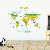 Decowall Green Geographic World Map Wall Decals