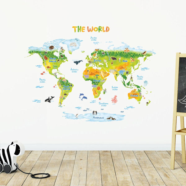 Decowall Green Geographic World Map Wall Decals - Wall Sticker Outlet