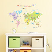 Decowall Multicolor World Map Wall Decals