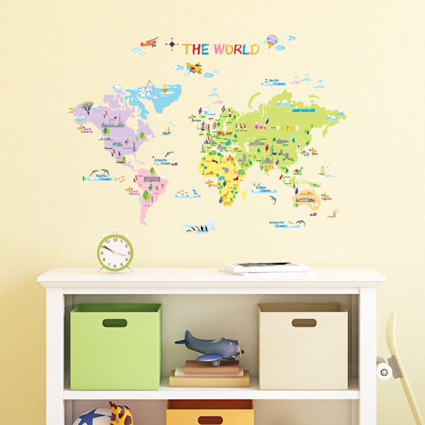 Decowall Multicolor World Map Wall Decals - Wall Sticker Outlet