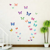 Decowall Vibrant Butterfly Wall Decals