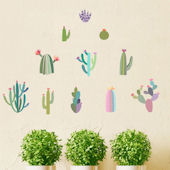 DCTOP Watercolor Cactus Peel and Stick Wall Decals