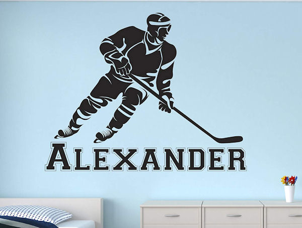 Hockey Player Personalized Wall Decal - Wall Sticker Outlet