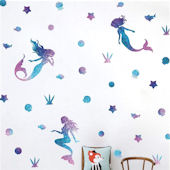 DCTOP Watercolor Mermaid Peel Stick Wall Decals