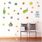 DCTOP Martian Outer Space Peel Stick Wall Decals
