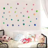 DCTOP Watercolor Dots Stars Peel Stick Wall Decals