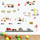 DCTOP Construction Vehicles Peel Stick Wall Decals