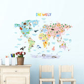 Decowall German World Map Wall Decals