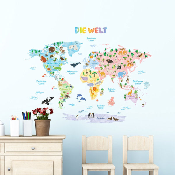 Decowall German World Map Wall Decals - Wall Sticker Outlet