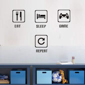 DCTOP Eat Sleep Game Repeat Peel Stick Wall Decals