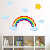 DCTOP Rainbow Clouds Peel and Stick Wall Decals